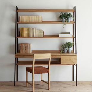 定制纯实木书架酒架美国白橡木家具美式乡村北欧简约复古书桌书架