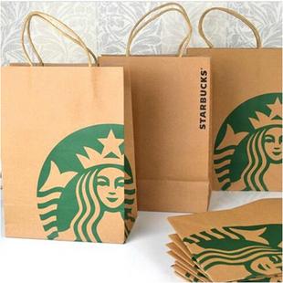 starbucks星巴克纸袋环保纸提袋创意购物袋牛皮纸袋礼品袋购物袋