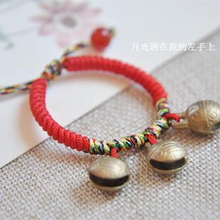 虎头铜铃铛编织辟邪平安 女宝宝红绳手链男脚链
