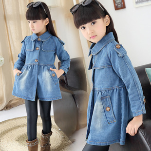 2015新款牛仔女童秋款外套潮韓版女孩上衣兒童牛仔風衣寶寶外套圖片