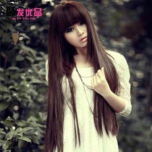 非主流假发齐刘海长直发 女生中长修脸蓬松黑色新款圆脸亚麻色图片