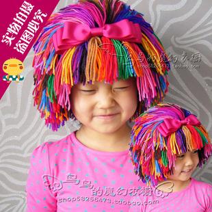 纯手工编织可爱宝宝彩色假发发帽 假发帽 儿童毛线帽(需定制)