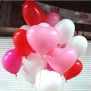 12寸珠光心形气球 七夕情人节婚礼结婚庆典装饰布置乳胶气球批发