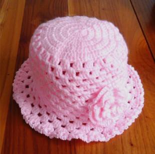 纯手工编织宝宝毛线小孩帽子钩织镂空婴儿童春秋可爱花朵帽子包邮