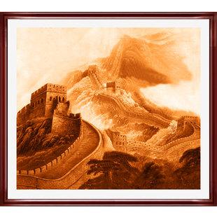 办公室墙挂长城画作挂画绘画装饰画旭日东升纯手绘
