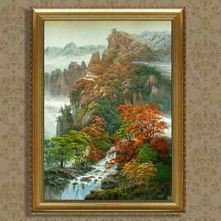 大芬村定制欧式山水风景油画手绘竖版家具装饰画室内客厅玄关壁画