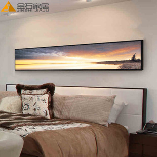 现代简约卧室床头装饰画 酒店宾馆有框墙画餐厅挂画风景壁画横幅