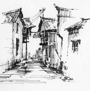 定制任意尺寸 乡村徽派建筑风景素描速写 8开a4手绘素描纸钢笔画