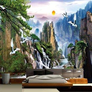 中式3d立体墙纸客厅沙发电视背景墙壁纸壁画无缝墙布风景山水画