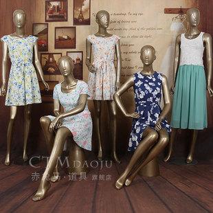 新款 服装店女装模特道具全身 香槟色婚纱橱窗展示假人模特道具