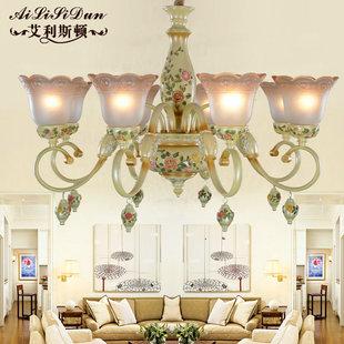 卧室吊灯田园客厅灯彩绘玫瑰花朵温馨公主房女孩房间欧式吊灯图片