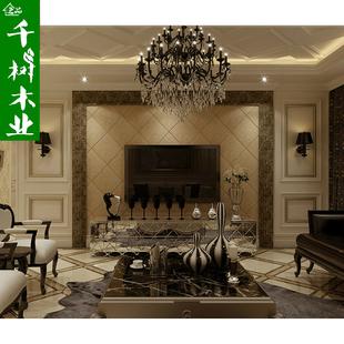 千树 全屋定制烤漆护墙板欧式 简约美式描金/古铜色 背景墙 郑州图片