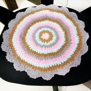 手工钩针森女田园圆形坐椅垫绒绒线坐垫彩色坐垫纯手工毛线餐椅垫