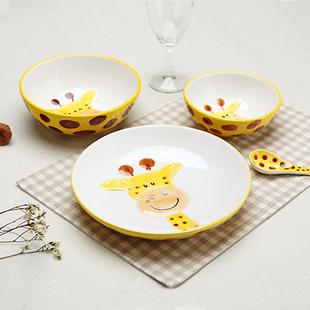 景德镇陶瓷可爱手绘动物碗 长颈鹿碗米饭碗甜品碗 创意陶瓷器餐具