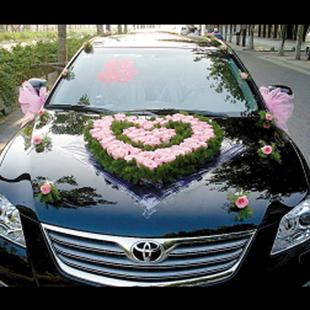 福州鲜花婚车装饰心型粉玫瑰迎亲花车上门布置韩式婚车图片