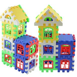 搭建积玩具形diy木屋认别墅可拼装楼房字母24装乐高捉冀龙积木图图片