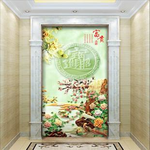 仿玉石瓷砖背景墙 迎门墙瓷砖壁画招财进宝 进门入户过道玄关壁画