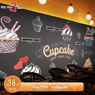 欧式甜品店壁纸pizza黑板涂鸦大型壁画餐厅蛋糕面包店背景墙纸