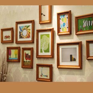 欧式实木相框墙客厅背景墙相框新婚照片墙企业文化墙相框组合相框