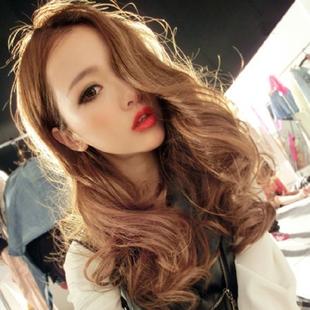 日韩假发时尚女发型真长卷发中分刘海假发套蓬松中长发大卷波浪图片