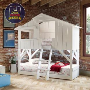 七彩王国美式创意儿童家具实木儿童床高低床上下床子母树屋床定制图片