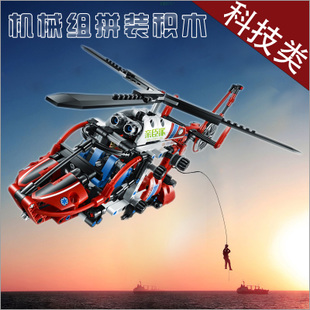 亲臣派の男生玩具拼装直升飞机 乐高式6-8-10岁儿童玩具积木塑料