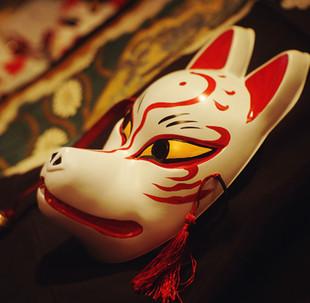 狐狸面具和风手绘 和服配饰 日本狐面 狐妖 猫咪老师