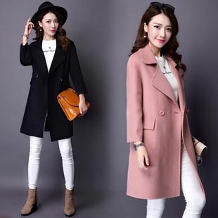 双面羊绒大衣女高端奢华大牌手工中长款羊毛呢大衣外套2015新款