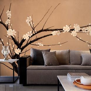 现代中式墙纸梅花 客厅沙发电视背景墙壁纸 卧室墙纸餐厅大型壁画
