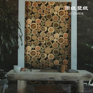 年轮墙纸 复古木纹仿木头木板树木树皮3d个性壁纸酒吧餐厅墙背景