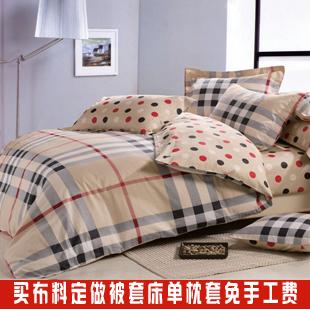 宽幅批发 特价斜纹纯棉 床上用品 格子圆点床单被套面料全棉布料图片