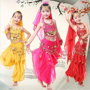 新款儿童演出服 印度舞肚皮舞表演服新疆舞幼儿民族舞蹈服包邮