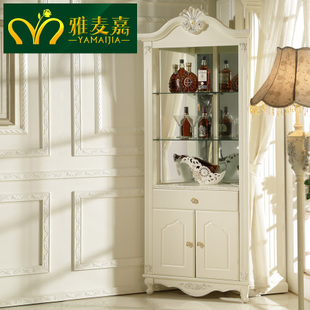 欧式三角酒柜家用吧台简约现代玻璃展示柜实木法式墙角柜装饰柜图片