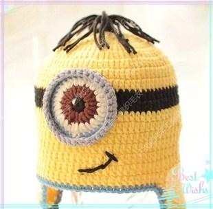 纯手工编织小黄人帽子牛奶棉儿童帽可爱宝宝神偷奶爸亲子帽毛线帽