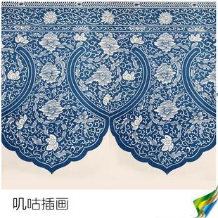 中国风古典服饰 民族风格纹样花纹图案装饰图样 插画设计素材参考