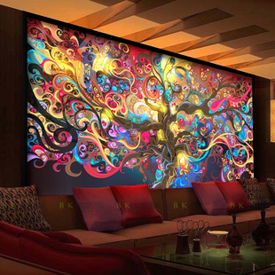 新品欧式大型壁画 酒吧ktv宾馆个性墙纸咖啡馆美容院