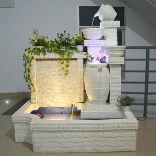 欧式水景喷泉流水家居树脂工艺品摆设入户花园客厅景观鱼缸加湿器