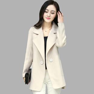 高端双面羊绒大衣女2016春秋新款纯手工羊毛呢子韩版修身短款外套图片
