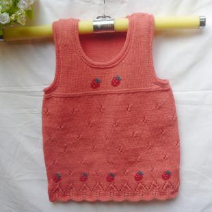 纯手工编织|宝宝绣花 毛衣 女童背心 儿童毛衣宝宝外套 婴儿背心