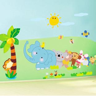 大象小动物墙贴 贴画 卡通儿童房间墙贴 幼儿园教室布置墙壁贴纸