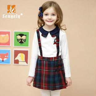 秋款新品 韩版童装学院风t恤背带裙套装两件套 精品厂家直销