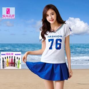 韩版v领短袖棒球服女夏防走光裤裙运动服大码休闲两件套装广场舞图片