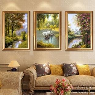 天鹅湖油画手绘欧式风景客厅三联画美式定制组合挂画