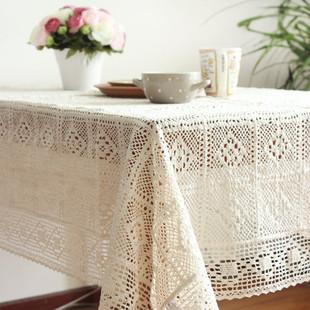 原单出口美式乡村风棉线钩针钩花桌布沙发扶手盖巾钢琴万能盖布