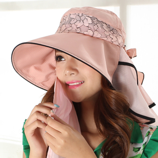 夏女户外折叠防晒面纱口罩遮阳出游遮脸大沿太阳布帽子蝴蝶结帽子图片