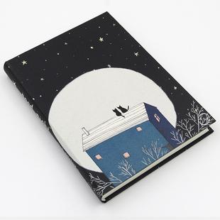 原创文艺笔记本《晚安集》简约记事本手绘本子空白小清新日记本a5