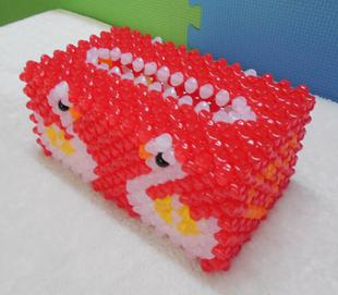 包邮串珠手工艺品双天鹅纸巾盒 珠子材料包抽纸盒果冻珠子包邮
