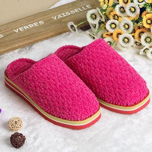 纯手工编织毛线拖鞋冬季保暖羊毛情侣家居家加厚底防滑棉拖鞋女款