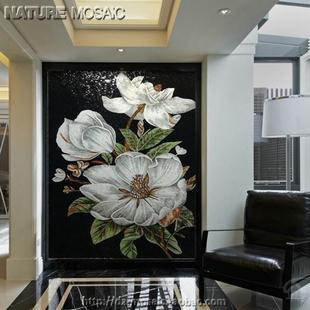 玻璃马赛克 水晶剪画欧式拼花拼图百合发财树餐厅过道 玄关背景墙