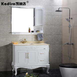 凯迪洛浴室柜欧式大理石台下洗手盆面盆pvc橡木卫浴